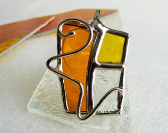 Necklace in yellow stained glass (pendant)