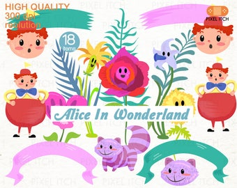 Alice In Wonderland ClipArt. Flowers Clipart. Tweedledee Clipart. Cheshire Cat. Ribbon Banner Clipart. Garden Clipart.