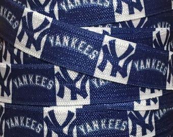 5/8 New York Yankees Elastic by the Yard, New York Yankees FOE, Yankees Fold Over Elastic, MLB Elastic for Hair Ties