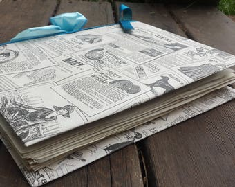 Vintage newspaper style journal/notebook/diary/scrapbook/handmade journal/newspaper journal/gifts for her/unique journals/coffee dyed papers