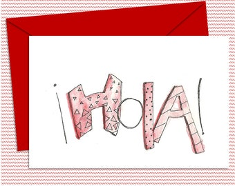Red Hola Card - PDF Greeting Card - Instant Download