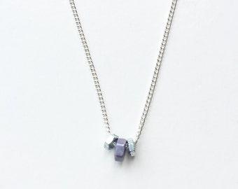 Hex nut necklace (purple)