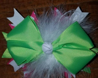 Green and Pink Boutique Bow