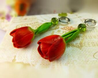 Tulip earrings Floral earrings Red earrings Long earrings Polymer clay earrings Spring earrings