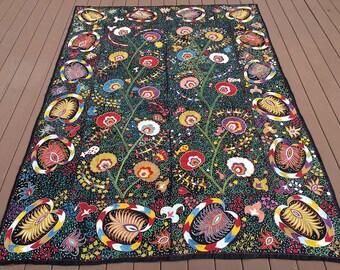 Poppy Suzani Embroidery, Suzani Wall-Hanging, Suzani Bedspread, Suzani Tablecloth, Wrapping Cloth, Uzbek Suzani, Hand Embroidered Cloth