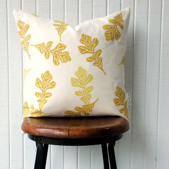 "Organic canvas accent pillow, throw pillow 18"",  oak leaves, gold hues, interior decor, leaf motif, living room decor, housewarming"