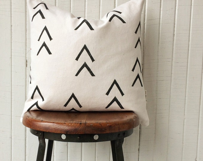 Organic canvas pillowcover black chevrons 18 inch accent pillow modern minimalist decor hygge style eco-friendly gift idea pillow for him