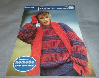 """Knitting Pattern Adult Sweater, Ladies Pullover Bust 34 - 40"""", Mens Pullover Chest 38 - 46"""", Leisure Arts 1308"""