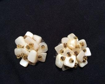 Japan MOP Clip On Cluster earrings Mothe of Pearl