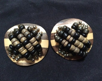 Huge wooden clip on earrings
