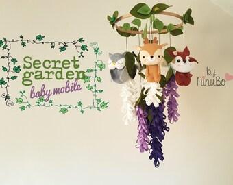 Secret Garden Baby Mobile - Princess Mobile - Forest Mobile - Flowers Mobile - Woodland mobile