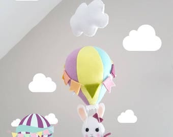 Balloon Baby Mobile - Bunny Mobile - Crib Cot Mobile - Kids Room Decor - Nursery Decor - Balloon - Rabbit - Hanging Mobile -