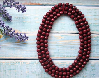 Dark Red Bead Necklace, wooden necklace, ethnic style beads, deep red necklace, maroon necklace, burgundy necklace, dark red wedding