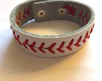 Leather Baseball Bracelet