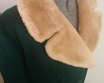 Clean, Vintage, Retro, 1940's, Storm, Moll Rose, Timme, Tuft, Green, Long, Shearling Fur, Trench, Coat, XXL