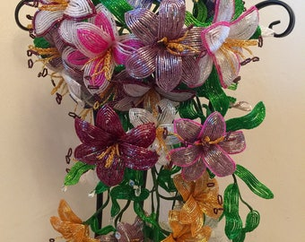 French Beaded Lilies wedding or home decoration  arrangement bouquet