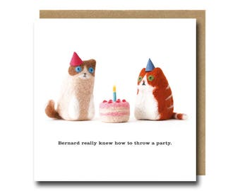 Cat Birthday Card, Funny Cat Card, Cute Cat Card, Birthday Cat Card, Party Cat Card, Cat Party Card, Ragdoll Cat Card, Needle Felted Cats
