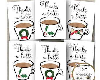 Thanks A Latte Printable Tags / Printable Latte Tags / Christmas Printable Thank You Tags / Printable Latte Tags / INSTANT DOWNLOAD