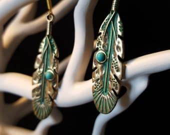 Earrings Feather Golden - bronze and turquoise charm - Bohemian - chic retro
