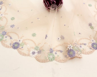 Swiss embroidery: 1 Yard Lace Trim Beige Tulle