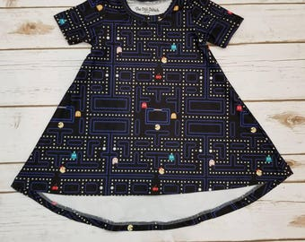Toddler Dress - T-Shirt Dress - Toddler - Short Sleeve - Pac-Man