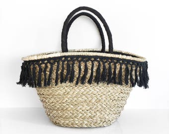 Black fringe basket