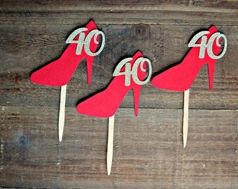 High Heel Cupcake Toppers. 40th Birthday Cupcake Toppers. 40th Birthday. 40 and Fabulous. 40th Birthday Party Decorations, 40th Decor. 40.