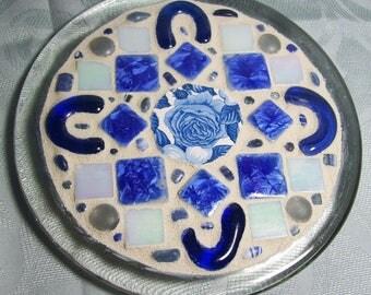 Mosaic Candle Holder / Trinket Dish / Trivet - Blue and White