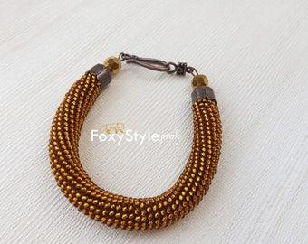 Golden bracelet Bead bracelet Yellow bracelet autumn bracelet Elegant bracelet cute bracelet everyday bracelet light brown summer bracelet