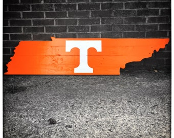 Tennessee Wood Cutout Wall Hanger - Tennessee Vols Power T - Distressed - Wall Decor
