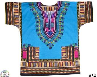 Turquoise Short Sleeve Dashiki African Festival Hippie Poncho Mexican Shirt Men Kaftan | Hippy Shirt| Boho | TT No.34 | POS: F1/1