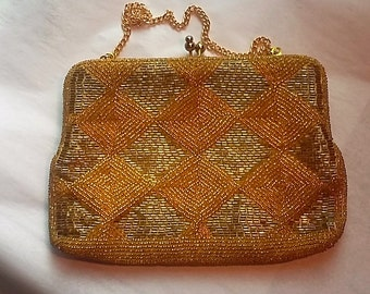 Vintage Gold Beaded Evening Bag, Richere by Walborg, c1960, Japan