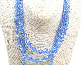 Vintage Triple Layer Blue Aurora Borealis Crystals Necklace