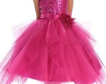 Fuchsia dress for girls, sparkle dress, toddler dress, girl dress, wedding dress, party dress, flower girl dress, photoprop, girl dress