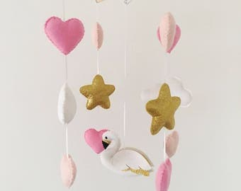 Gold, white and pink baby mobile featuring a swan with golden wings perfect for a nursery/ new baby