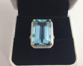 NEW- 15.61ct Natural Aquamarine & Diamond Ring Appraised 21,660 with GIA Certificate