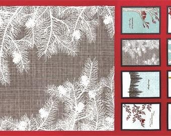 Winter's Lane Fabric Blocks & Crafts PANEL + FREE PATTERN // Moda 100% Cotton Christmas Fabric