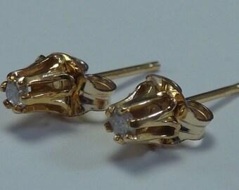 14K Yellow Gold Diamond Earrings in Buttercup Settings app. .15 ct. tw.