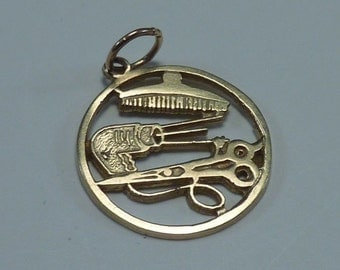 "14K Yellow Gold ""Hairdresser"" Charm, 1 gram"