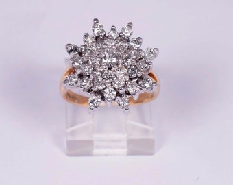 14K Yellow Gold Diamond Cluster Ring, size 4.25