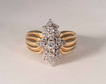14K Yellow Gold Diamond Cluster Ring , size 8.25