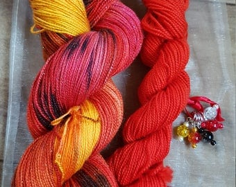 Hand dyed  sock yarn. Gift bag. Sparkling  Fire theme