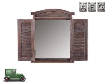 Wandspiegel Fenster mit Fensterläden Shabby Braun