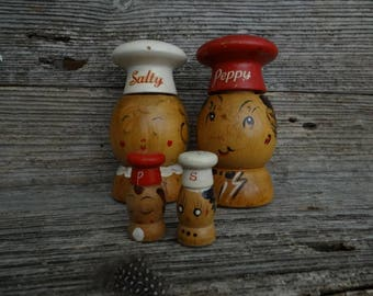 Vintage Wood Salty and Peppy / Salt and Pepper Shakers / Made in Japan
