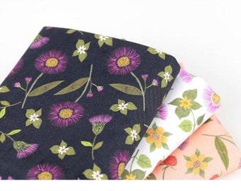 Korean Thistle Flower Raspberry Patterned Fabric made in Korea by Half Yard