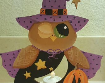 Halloween Owl, Tealight Holder, Owl Witch, Witch tealight holder, Halloween Tealight Holder, Good Witch Owl Tealight Holder, Halloween decor
