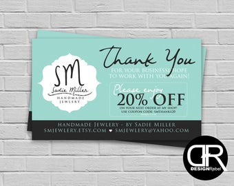 Customizable Thank You Business Card Design with coupon and your logo. Digital download only. Send customers a discount on their next order!