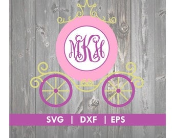 Princess Carriage SVG Cinderella Carriage SVG DXF Monogram Silhouette Cameo Cut File