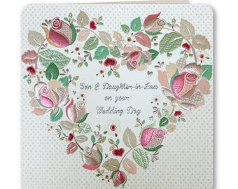 Sale! 70% off Was 3.25 now 0.98p Festive Folk Collection - Wedding Card Son and Daughter-in-Law - Wedding Card -  FE90
