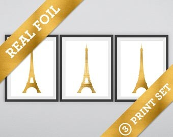 Eiffel Tower Print Set: 3 versions of the Eiffel Tower printed in Real Gold Metallic Foil - Paris France - Wall Prints - Europe - Vacation